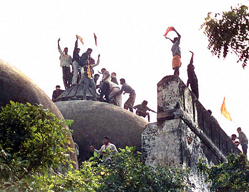 Hindu right wing activists led by L.K.Advani break the Babri Masjid to build a temple for the Hindu god Rama
