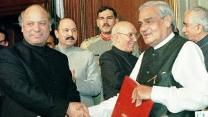 Indian Prime Minister Vajpayee journeyed to Lahore to meet his Pakistani counterpart Nawaz Sharif in 1999