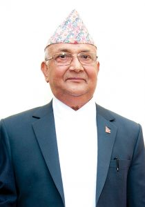 K.P.Sharma Oli, the outgoing Prime Minister