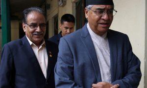 Nepalese Prime Minister Pushpa Kamal Dahal with Nepali Congress leader She Bahadur Deuba