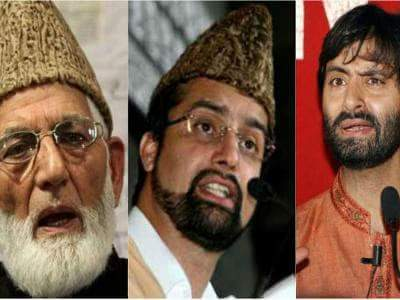 Kashmiri resistance leaders (from left to right):Sayed Ali Shah Geelani, Mirwaiz Faooq, and Yasin Malik