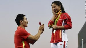China's He Zi was caught off guard by her boyfriend's dramatic proposal Sunday. AFP-Getty Images