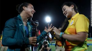Marjorie Enya and rugby player Isadora Cerullo of Brazil got engaged at Deodoro Park. Getty Images