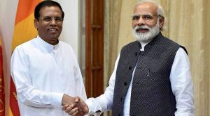 Sri Lankan President Maithripala Sirisena with Indian Prime Minister Narendra Modi