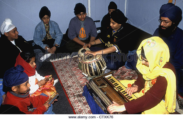 Sikh children at a music class. Music is integral to Sikhism, though in the popular perception, the Sikhs are a martial race more into agriculture than the arts.